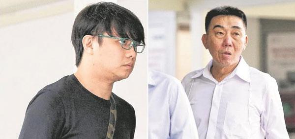 林鸿量(右)被判坐牢六年,而打手王福财被判坐牢五年六个月鞭六下。(档案照)
