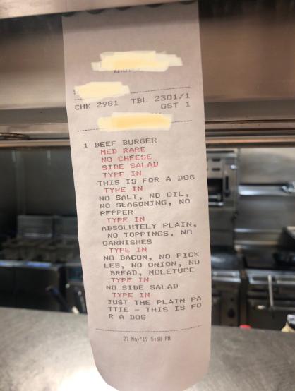 """""""特别要求""""汉堡包订单。"""