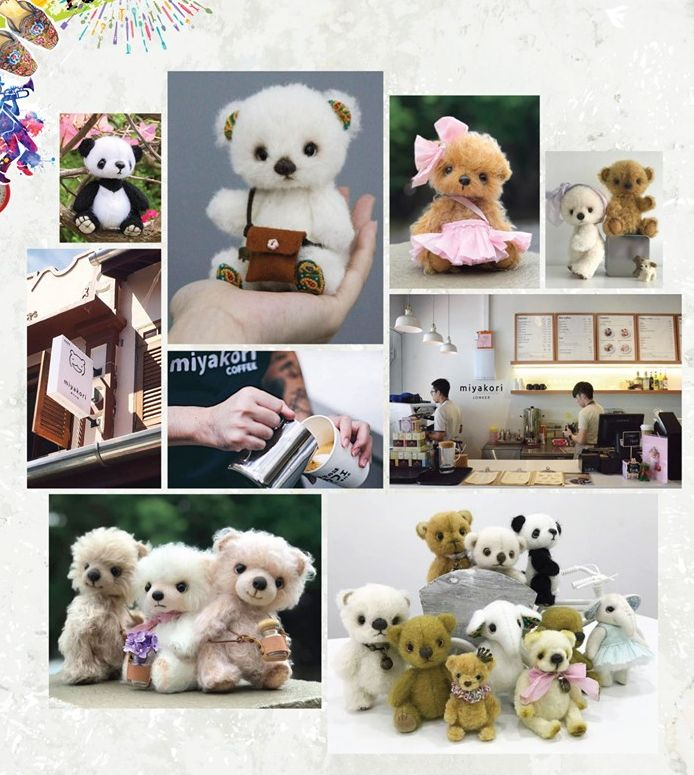 在鸡场街Miyakori展出的泰迪熊手作。