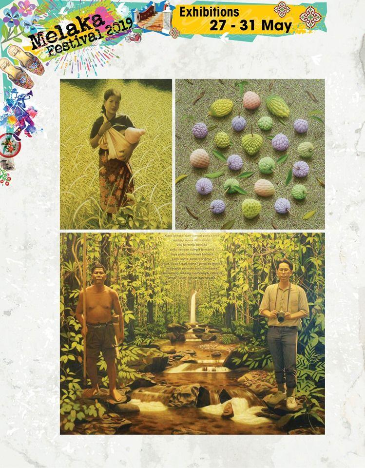 画家梁志祥在吉里望的Vortex Art Space展出作品。