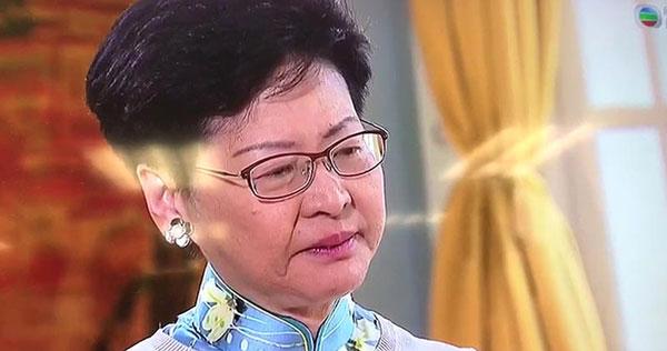 林郑月娥接受无线电视专访,提到自己被批评卖港时,眼泛泪光。