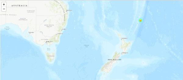 纽西兰外海克马德群岛区域19日又发生强震。(翻摄USGS)