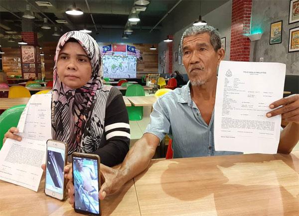 哈希玛(左起)在莫哈末哈欣陪同下,召开记者会矢言要为儿子讨公道。