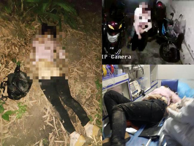 桑菊被发现时衣衫不整,财物尽失(左)。镜头拍下桑菊被一名男子拖走(右上)。