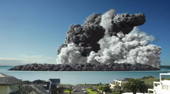奥克兰博物馆制作了一段影片,设计模拟了从城市的家中看到火山喷发的景像。