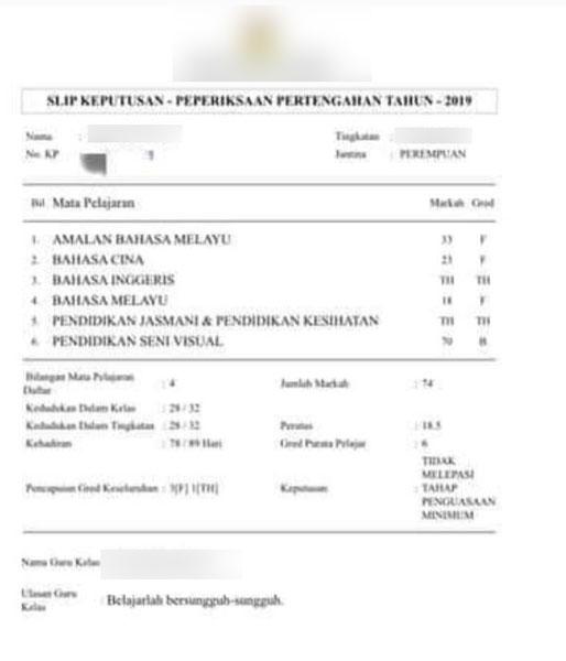 网上流传女学生的成绩单。(图取自网络)
