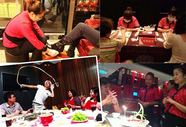 在中国海底捞餐馆的服务已升级到令人咋话的地步,擦鞋、美甲这些服务你有 想到会在餐馆享受到吗?(图片来源:百度)