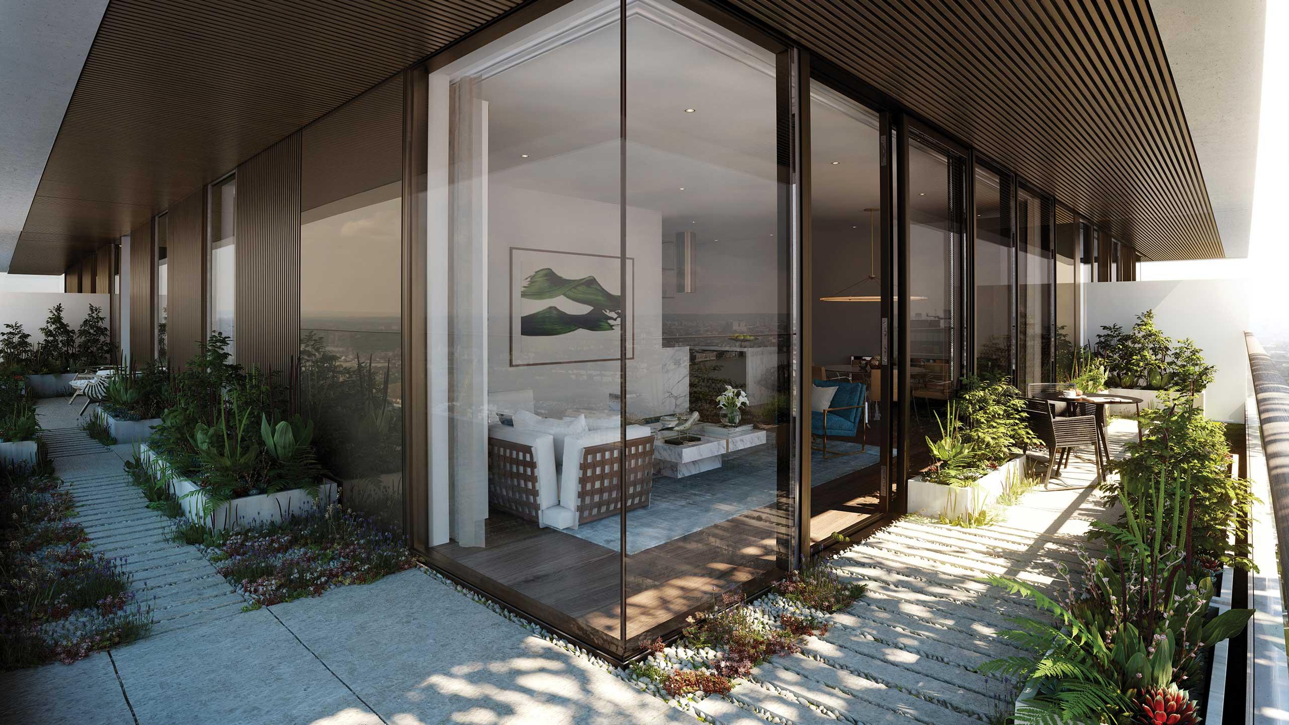 不妨尝试将落地玻璃的面积再增加一些,选择细铁框玻璃,运用转角增加室内看到室外的面积,空间看起来更通透,即便是摆在阳台的植物也能达到妆点屋内的效果。