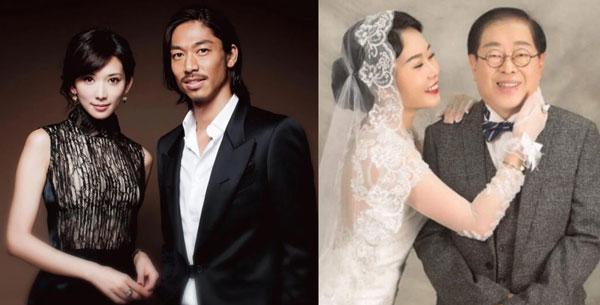 志玲姐姐下嫁比她小7岁的日本艺人Akira;四千金的凯儿,带球嫁给71岁的本地富商拿督戴华昌。
