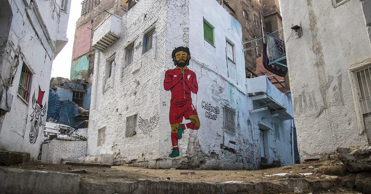 萨拉赫是埃及人崇拜的首号足球明星。他的漫画可在开罗街头看到。埃及将于本月21日至下月19日主办非洲国家杯赛。(欧新社)