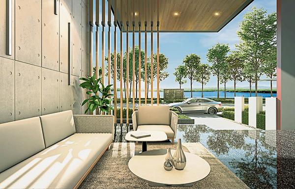 俐落简约时尚的公寓大厅接待处,采用挑高空间设计,营造出宁静、舒缓的高端感。