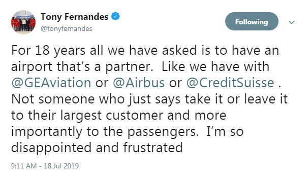 东尼费南德斯在推特向大马机场控股和航委会开炮。(截图取自东尼费南德斯推特)