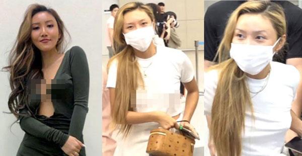 MAMAMOO成员华莎前天返韩没戴bra。