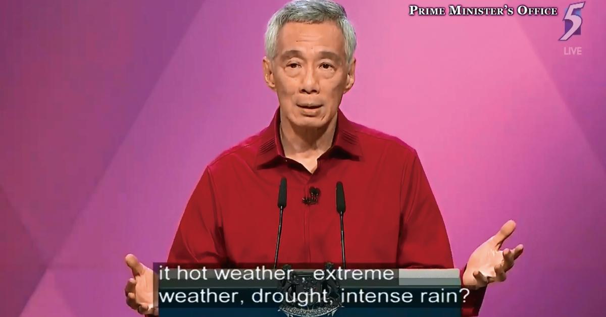 李显龙在致辞时说要与全球气候暖化有效对抗,新加坡国人就必须要先明白气候变化、减轻气候变化的影响和适应气候变化。(视频截图)