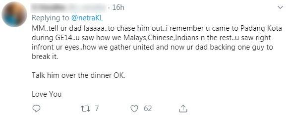 不少网民在玛丽娜推特下留言,要求她去跟其父亲反映,并要求遣返查基尔纳益。
