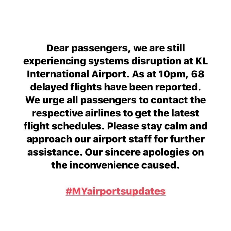 大马机场控股更新修复机场系统故障最新情况。