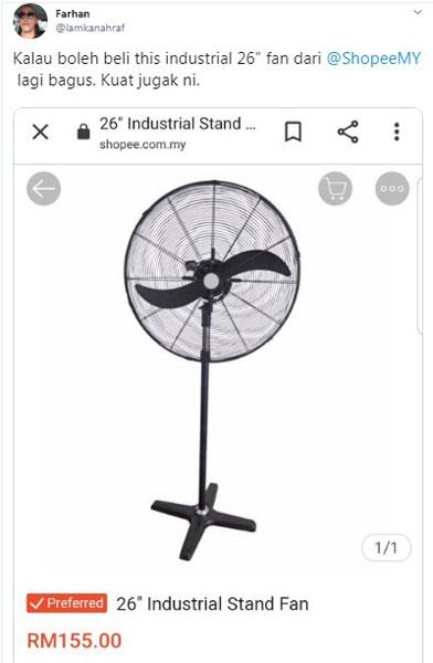 法汉建议网民购买26寸工业用风扇。(取自法汉推特)
