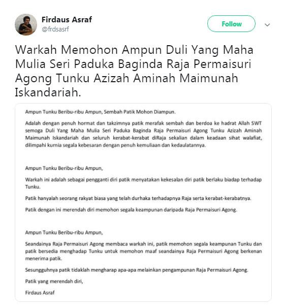 一名网民日前针对自己的不礼貌行为,向元首后东姑阿兹札道歉。(图截自Firdaus Asraf推特)