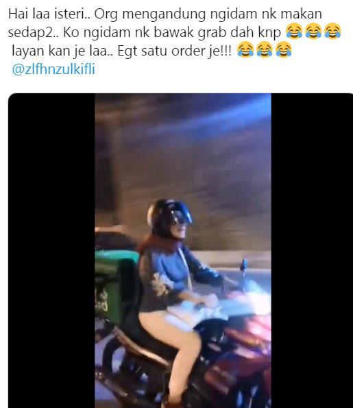 网友在推特分享其妻子在怀孕时渴望骑摩哆,当当Grab Food外送员的视频(截图取自推特)。