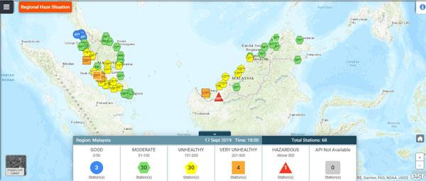 截至下午6时,斯里阿曼地区的空气污染指数依然维持在危险水平。