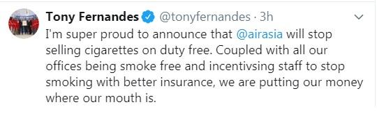 东尼费南德斯宣布,亚航航班禁卖香烟。