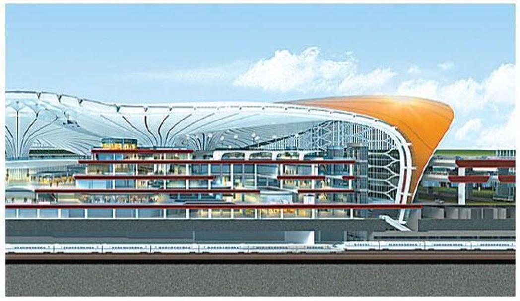 北京新机场航站楼剖面效果图。