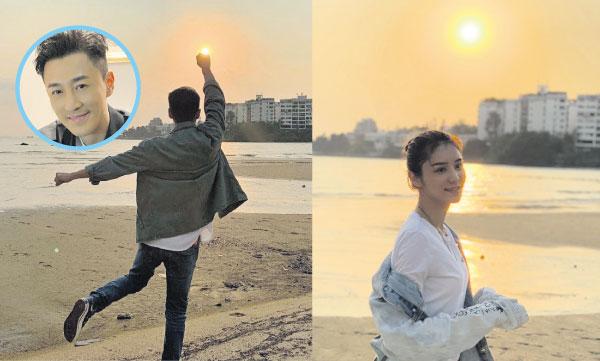 林峰与女友张馨月拍拖看日落,低调放闪。