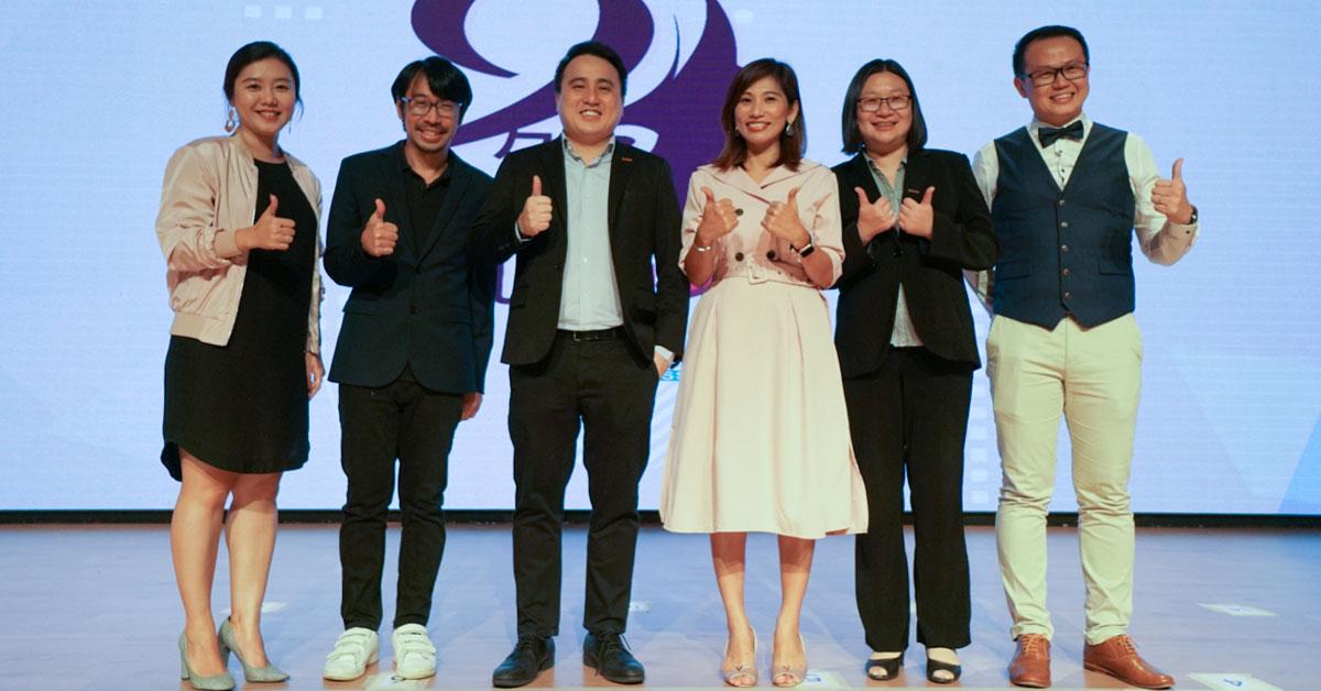 吴俐莹(左起)、王谢联、何上飞、罗依薇、周峥和周志强在分享会上合影。