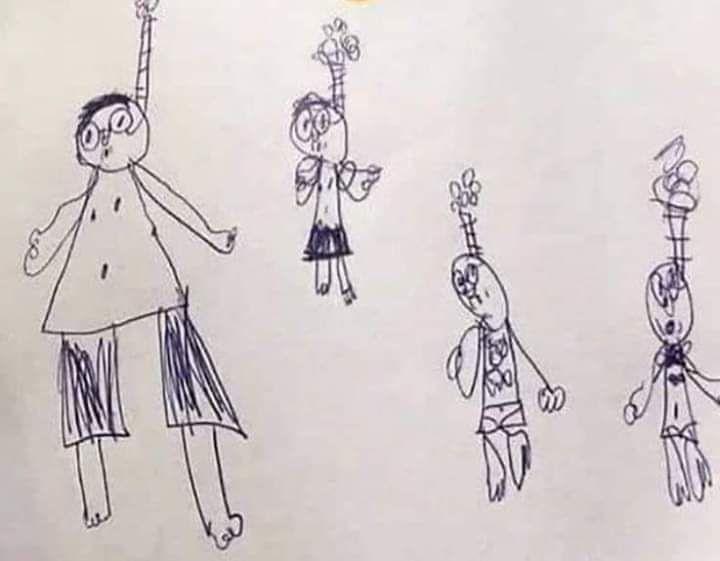 """小学生画了4个""""吊颈人"""",老师怀疑他患有忧郁症。"""
