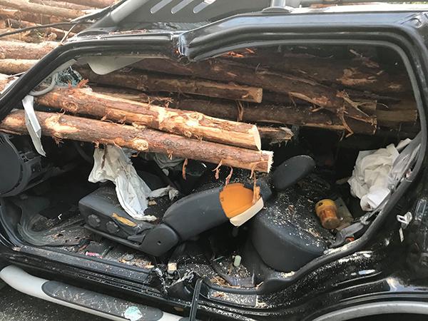 事故发生前一刻,司机疑似弯腰拾物,可能因而酿祸,却也救了他一命。