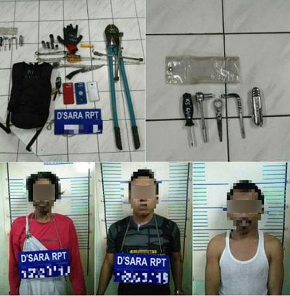警方将3人及起获的偷窃工具带返警局调查。