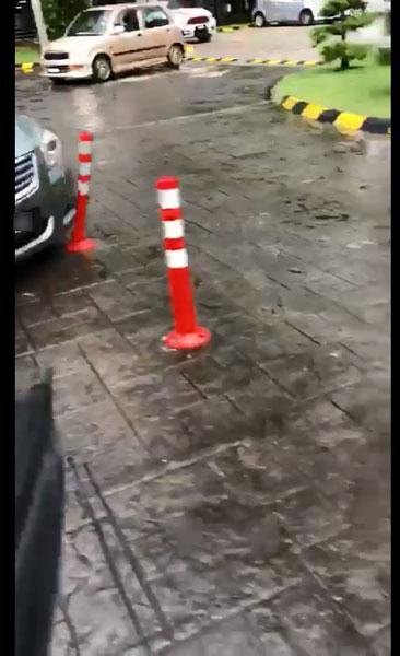破门行窃党踩油门撞坏路障,疾速离开现场。