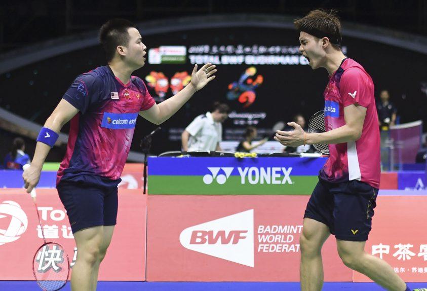 苏伟译(右)与谢定峰放眼在这星期的香港公开赛再争佳绩。(法新社档案照)