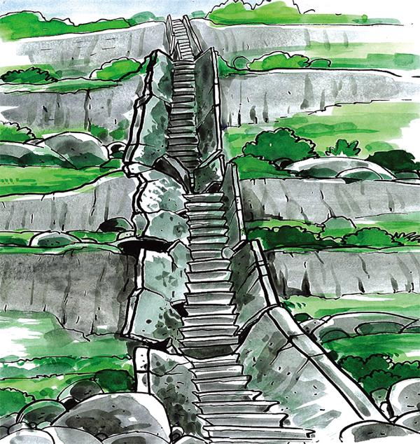 斜坡上的结构从它们原来的位置移开。