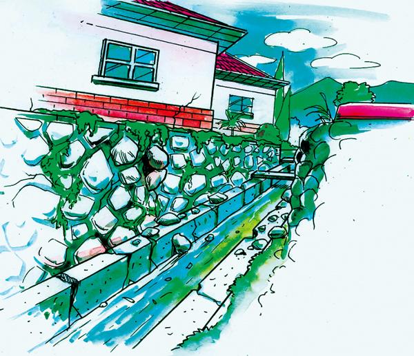 斜坡或挡土墙的底部出现地面隆起现象。
