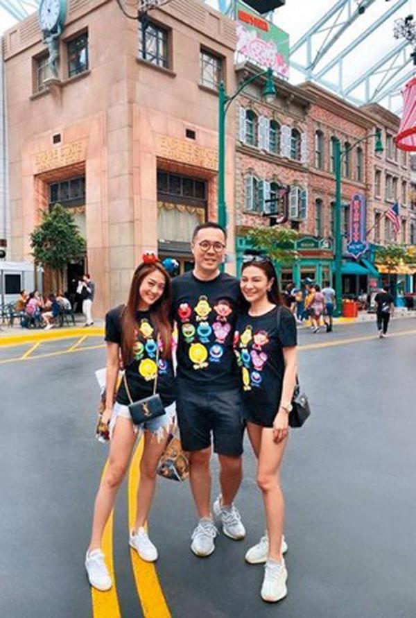 """赵元同(中)在还没婚变之前就周旋在林以婕(右)跟林千又(左)之间。图为赵元同""""双林同游""""到新加坡游玩的画面。"""