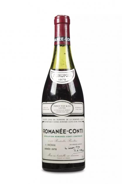 1978年份的罗曼尼康帝(Romanee-Conti)葡萄酒档案照。