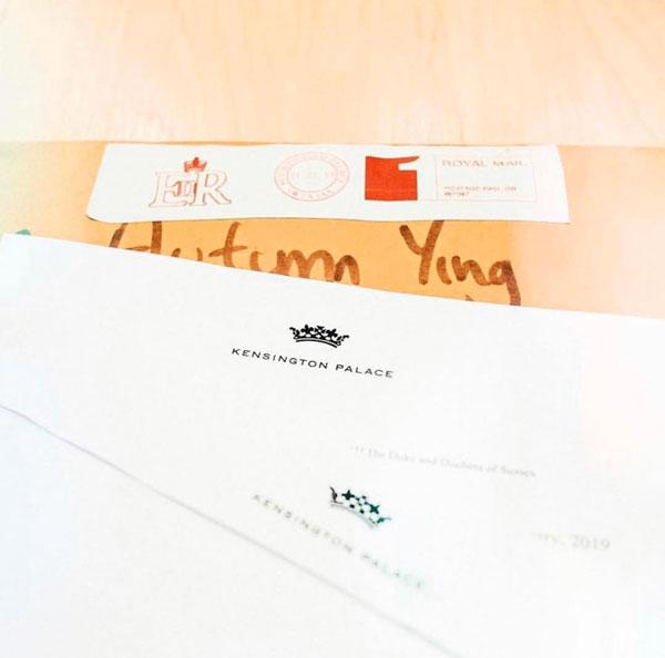英国王室曾致感谢函给林欣颖,当时她保留的截图画面。