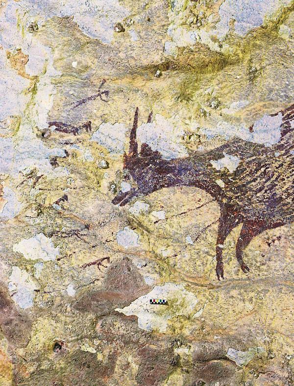 这幅洞穴壁画两年前在苏拉威西岛上发现,描绘的是半人类猎人挥舞着长矛和绳索追捕野生动物。(法新社)