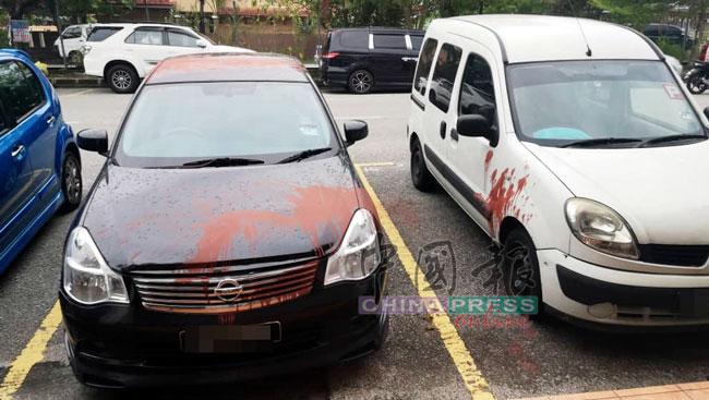 赖伟兴公司其下的2辆轿车,也遭红漆泼中。