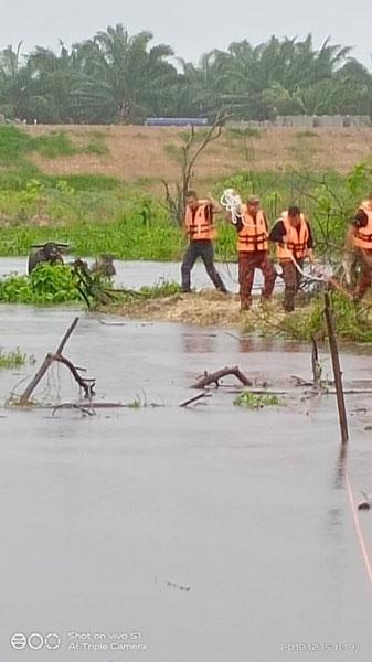 消拯員們用繩子將受困水牛拉至安全地點。