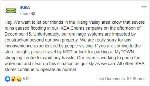 蕉赖宜家为泊车场淹水一事道歉。(取自大马宜家面子书)