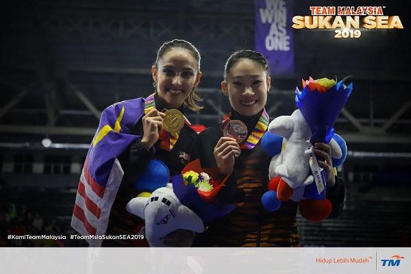 法拉(左)与陈璎月。(Team Malaysia推特)