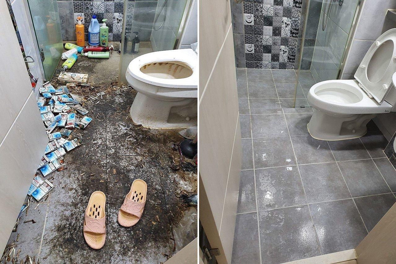 浴室清洁完后焕然一新。