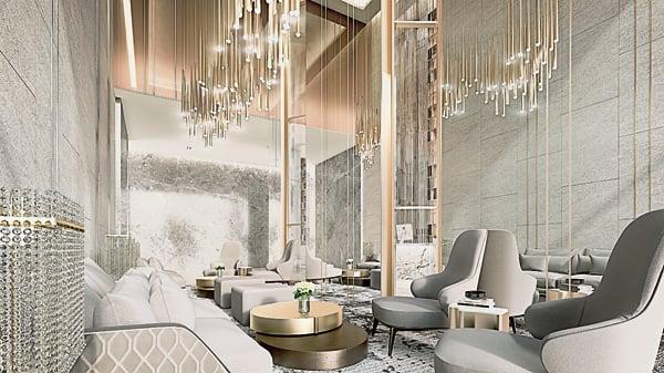 典雅大方的公寓大厅,与友好等约在这里见面,也一样得体。