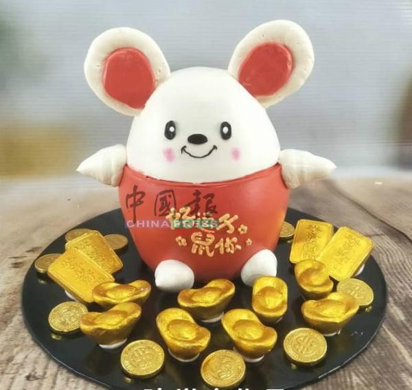 """可爱老鼠配上金银财宝,祝大家""""好运'鼠'于你""""。"""