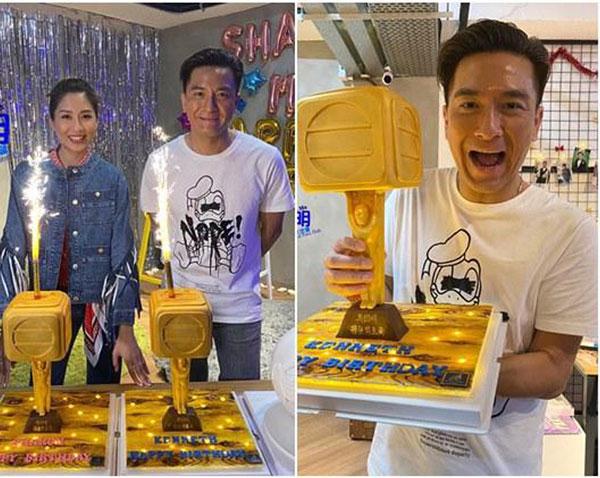 粉丝送上TVB小金人的3D立体蛋糕给马国明与陈敏之。