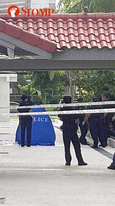 警方闻讯到场后,在男童坠楼处附近拉起封锁线展开调查。(Stomp图)