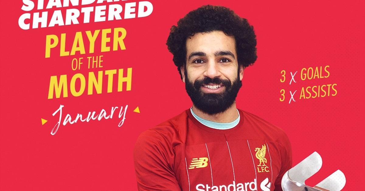 萨拉赫荣膺利物浦1月份最佳球员。(利物浦球会推特)