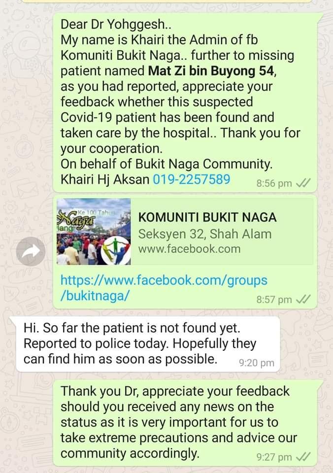 有当地居民尝试联系报案医生,该医生坦言当局还未寻获失踪男子。